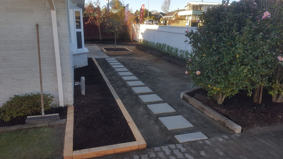 Garden edging and pavers down.