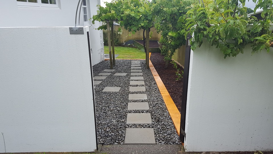 New Look Garden with Sleepers and Paving